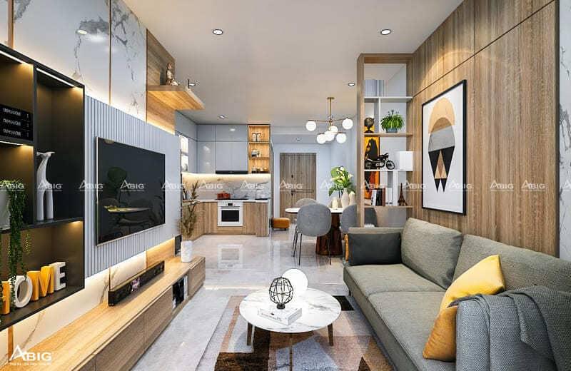 mẫu thiết kế nội thất căn hộ chung cư 2 phòng ngủ sarica quận 2