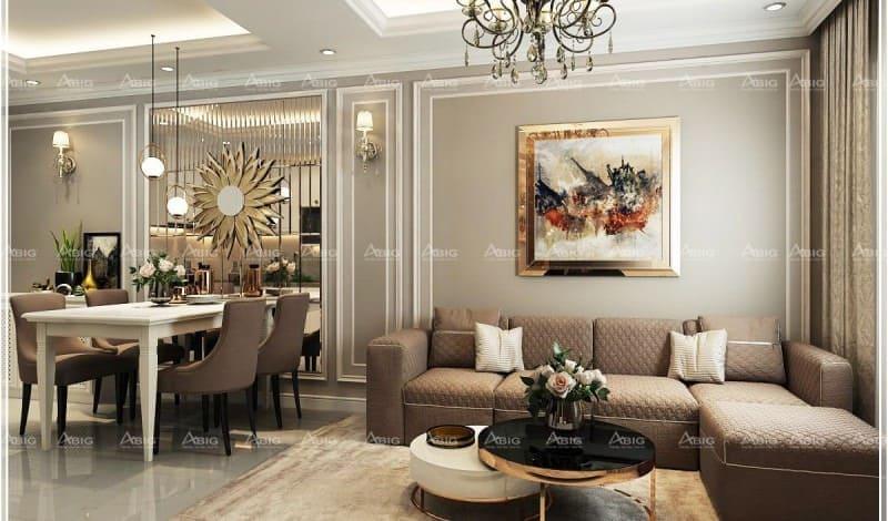 mẫu thiết kế nội thất chung cư 2 phòng ngủ masteri thảo điền phong cách tân cổ điển