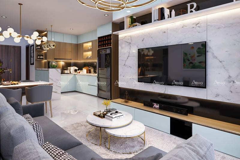 mẫu thiết kế nội thất căn hộ chung cư 2 phòng ngủ penthouse masteri t5