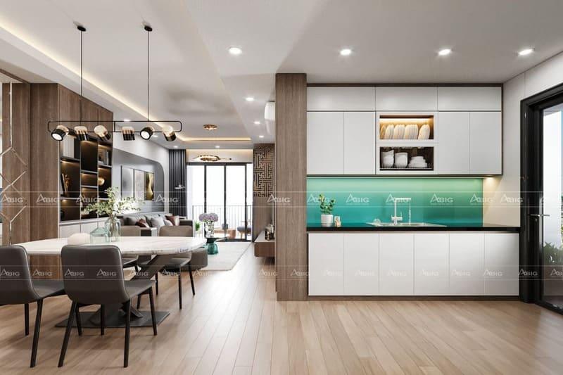 thiết kế khu vực bếp và phòng ăn của căn hộ