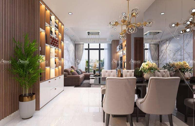 nội thất của khu bếp và phòng ăn theo phong cách tân cổ điển