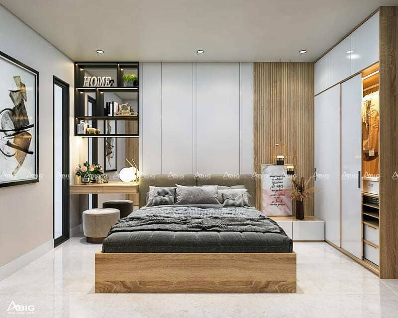 phòng ngủ chính được thiết kế ấm cúng