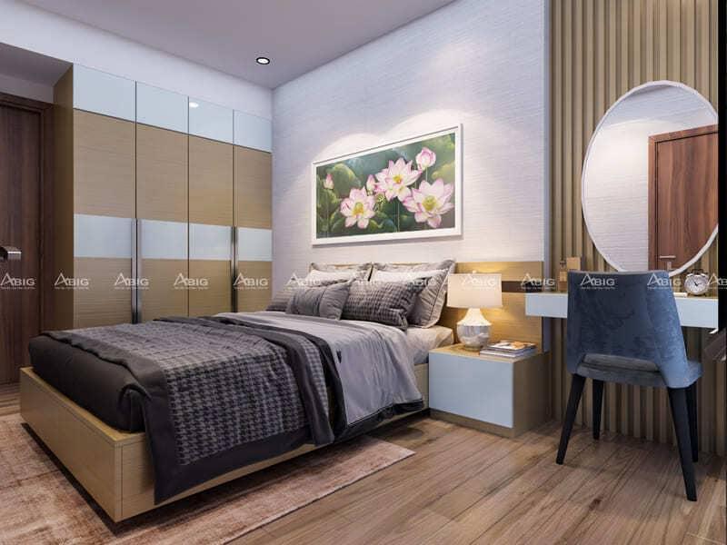 phòng ngủ chính được thiết kế hài hòa ấm cúng
