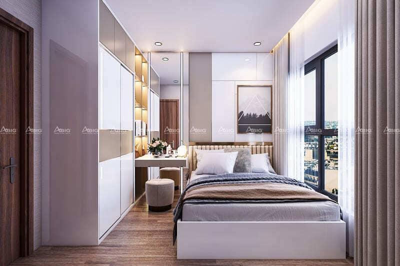 phòng ngủ chính nhỏ gọn đầy đủ tiện nghi và ánh sáng tự nhiên