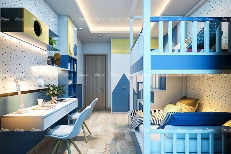 phòng ngủ cho bé được thiết kế giường tầng