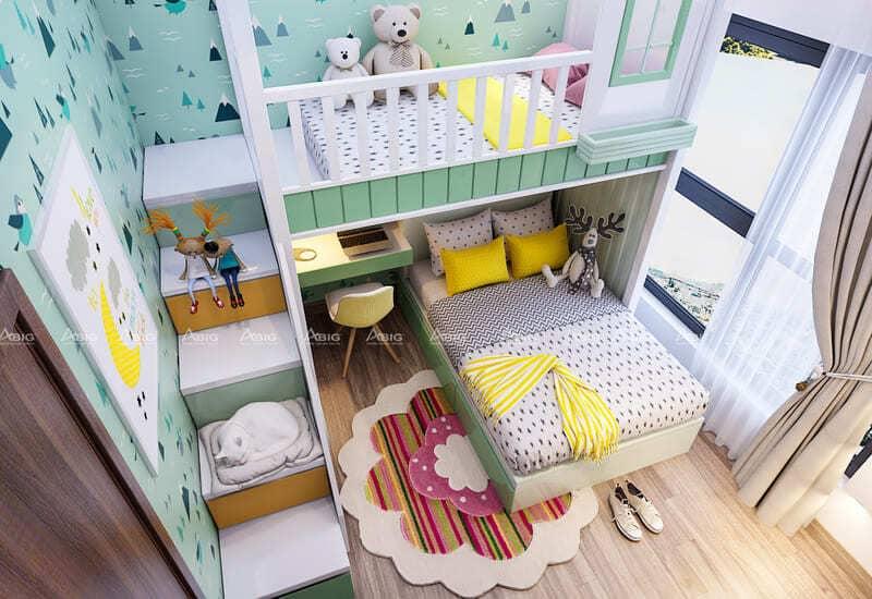 phòng ngủ dành cho bé được thiết kế nhỏ nhắn xinh xắn