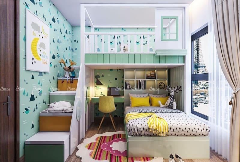 phòng ngủ dành cho bé được thiết kế vô cùng đáng yêu