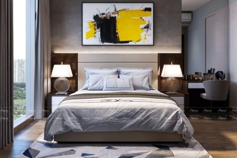 phòng ngủ lớn với gam màu xám chủ đạo ấm cúng