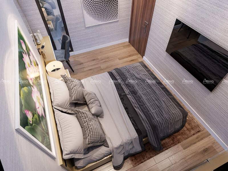phòng ngủ phụ với tông màu trắng tạo cảm giác thông thoáng