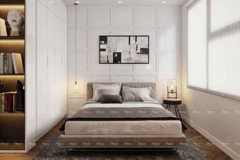 phòng ngủ chính với tone màu trắng tinh khôi thanh thoát