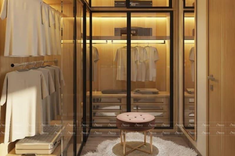 phòng thay đồ được thiết kế một cách chuẩn mực