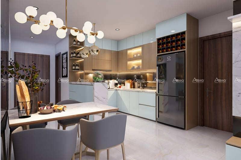 thiết kế bàn ăn và không gian bếp chung vô cùng ấn tượng