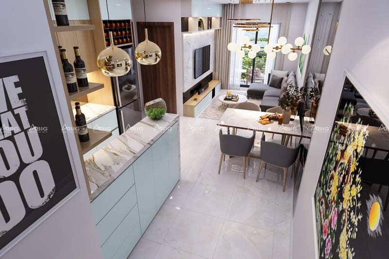 khu bếp được thiết kế khéo léo và kín đáo