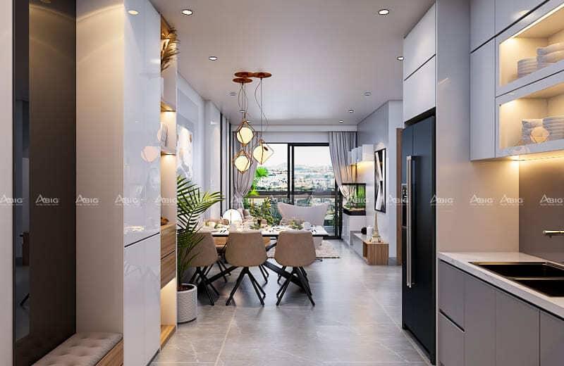 thiết kế không gian bếp hiện đại tiện nghi
