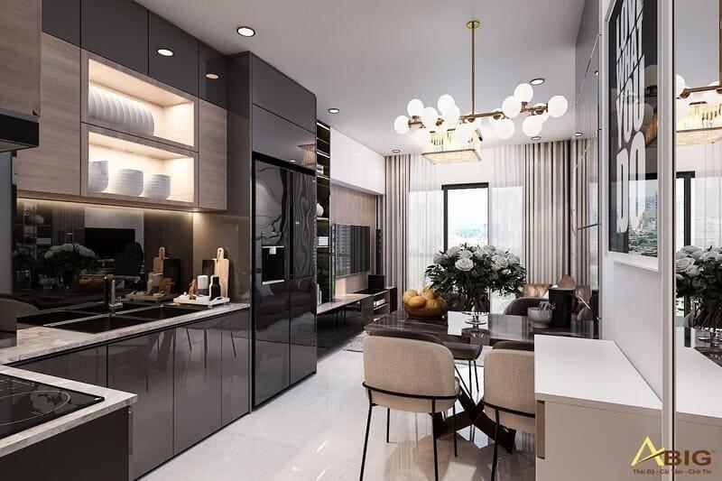 thiết kế không gian nhà bếp khoa học rộng rãi