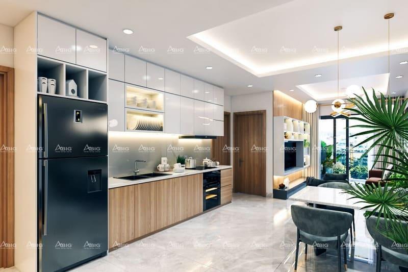 thiết kế khu bếp một chiều bằng chất liệu gỗ công nghiệp cao cấp