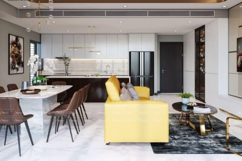 thiết kế phòng ăn nhà bếp và phòng khách chung một không gian