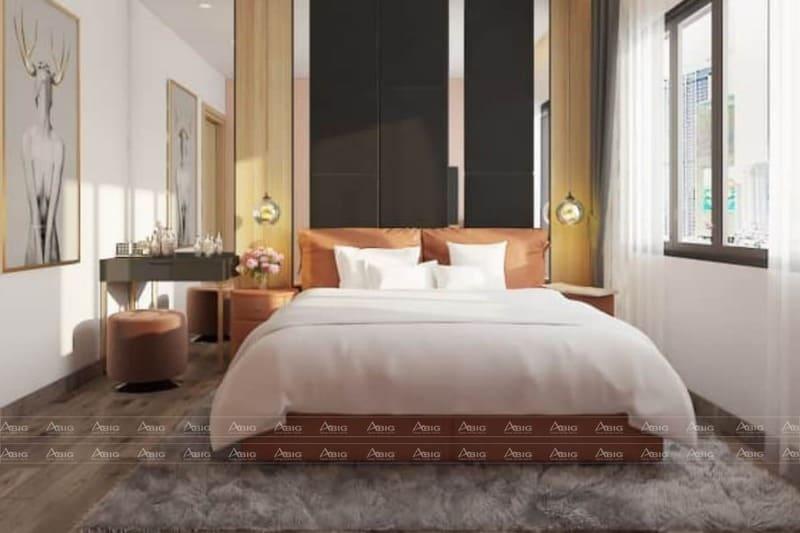 thiết kế phòng ngủ chính sang trọng với thảm lông và tranh nghệ thuật