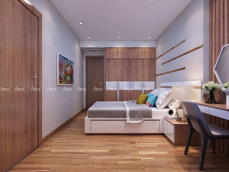 phòng ngủ được thiết kế nội thất gỗ đồng bộ tone màu chủ đạo của toàn bộ căn hộ
