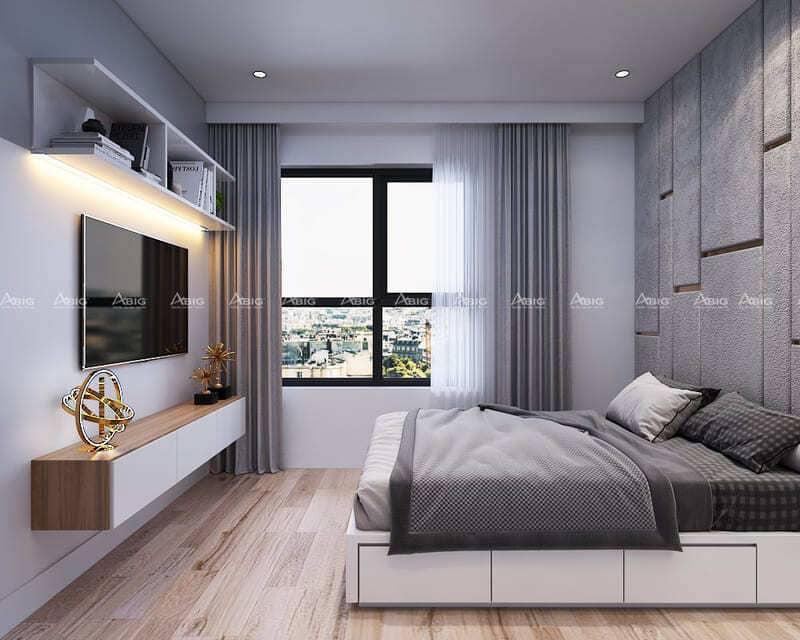 phòng ngủ chính được thiết kế với tone màu trầm ấm