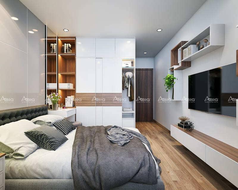 thiết kế phòng ngủ master chính với tủ âm tường và kệ trang trí