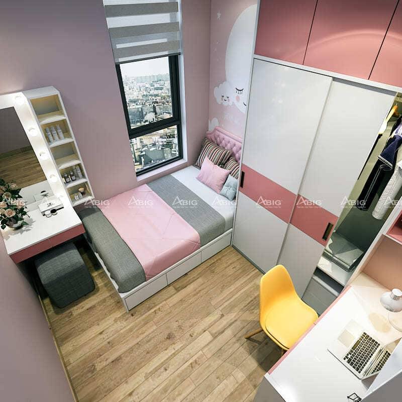 thiết kế phòng ngủ cho bé với tone màu hồng xinh xắn