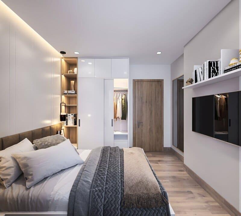 phòng ngủ master được thiết kế nhẹ nhàng tươi mới