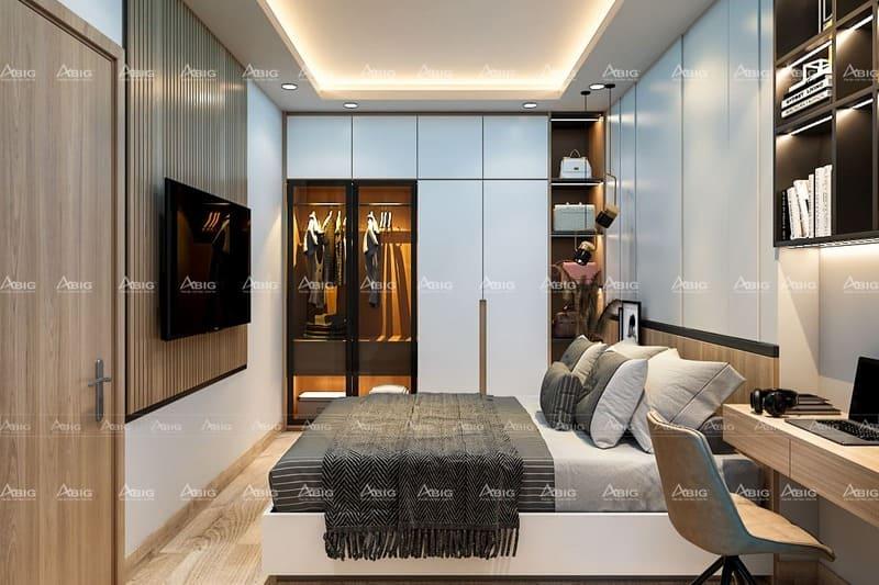 thiết kế phòng ngủ master cho vợ chồng với tủ quần áo đụng trần