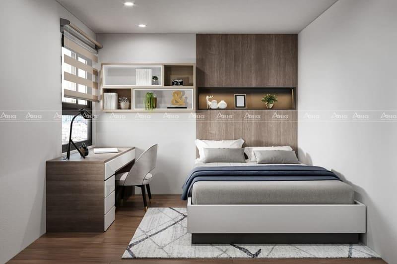 thiết kế phòng ngủ phụ với của sổ thoáng mát đầy ánh sáng và bàn làm việc nhỏ gọn