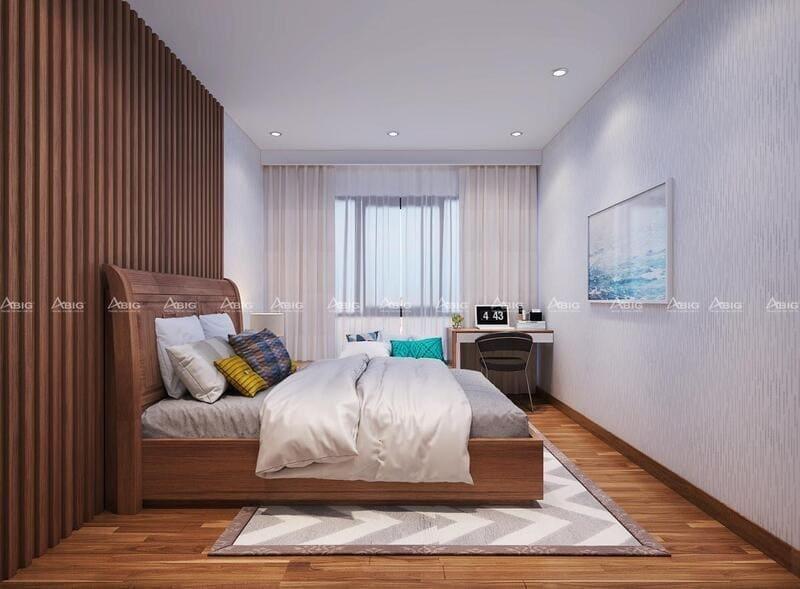 phòng ngủ phụ được trang trí bằng cách ốp các thanh gỗ liền nhau