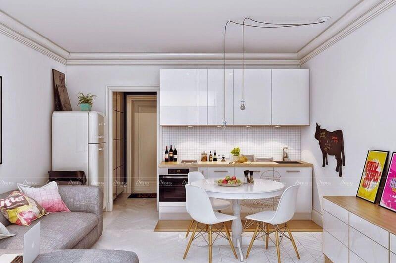 bàn ăn nhỏ được bố trí giữa không gian bếp và phòng khách thông minh