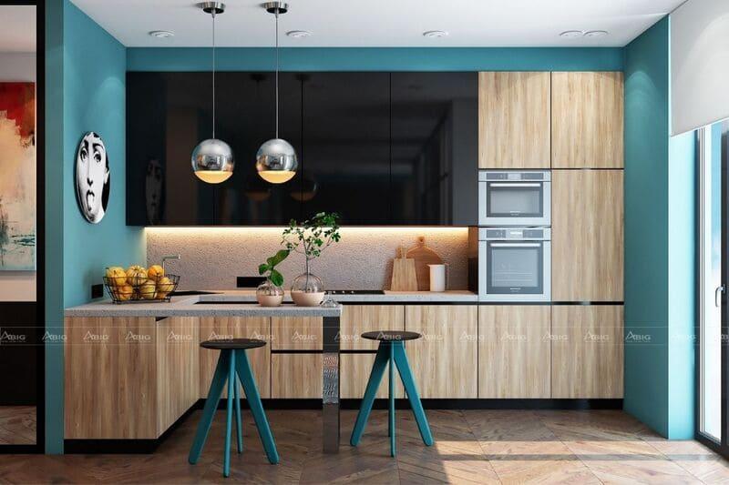 không gian bếp năng động với thiết kế nội thất xanh cá tính