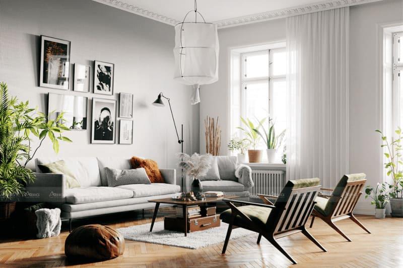 mẫu thiết kế căn hộ chung cư 50m2 phong cách bắc âu scandinavian