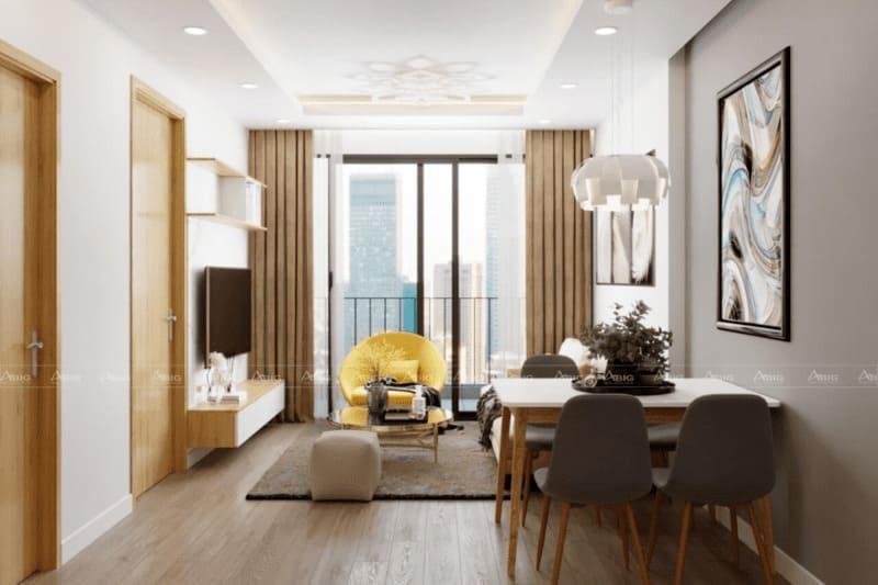 mẫu thiết kế căn hộ chung cư 50m2 2 phòng ngủ không gian mở