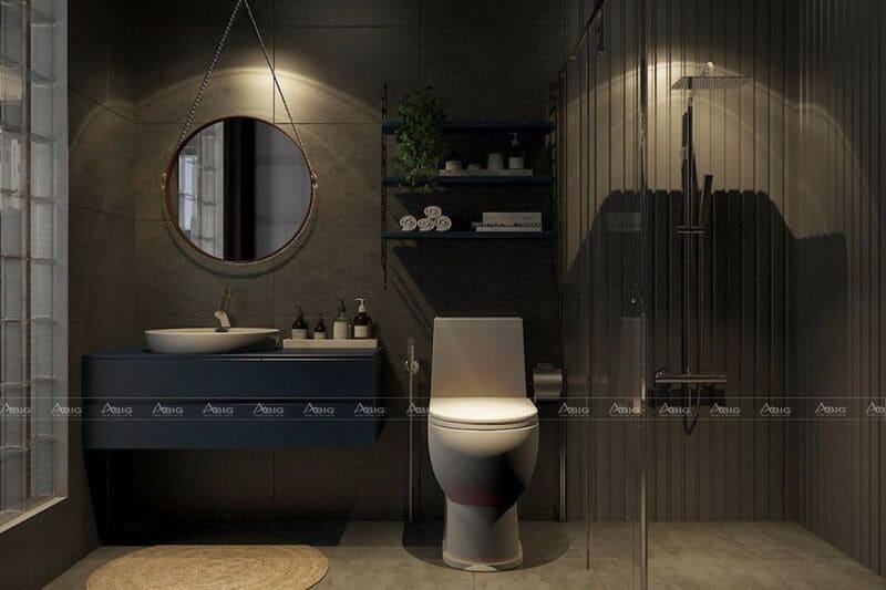 mẫu thiết kế nhà vệ sinh sang trọng phong cách industrial cho căn hộ nhỏ