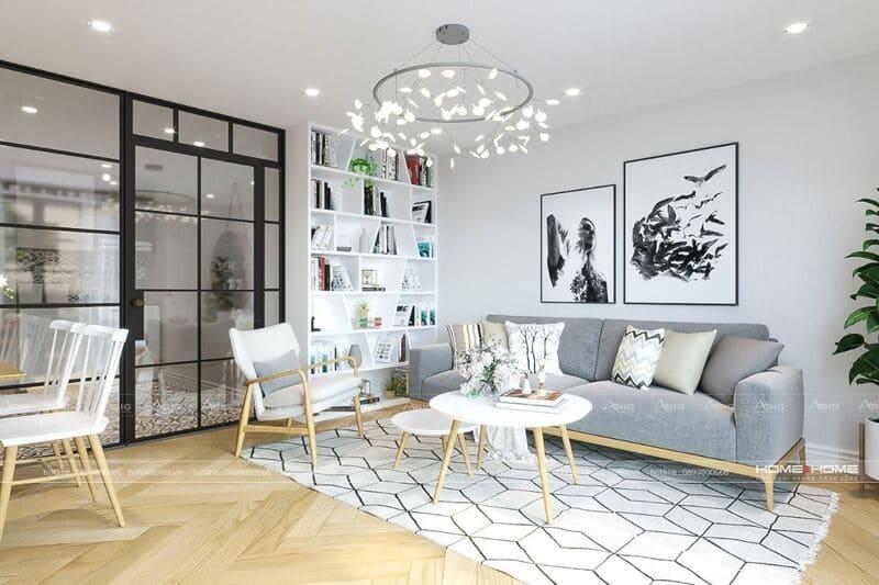 phòng khách căn hộ 50m2 được thiết kế theo phong cách bắc âu