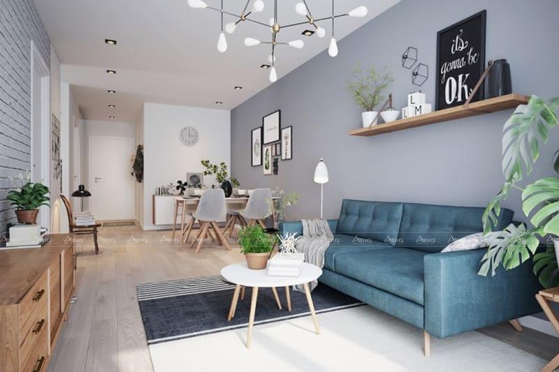 phòng khách được thiết kế nội thất trẻ trung cho căn hộ nhỏ
