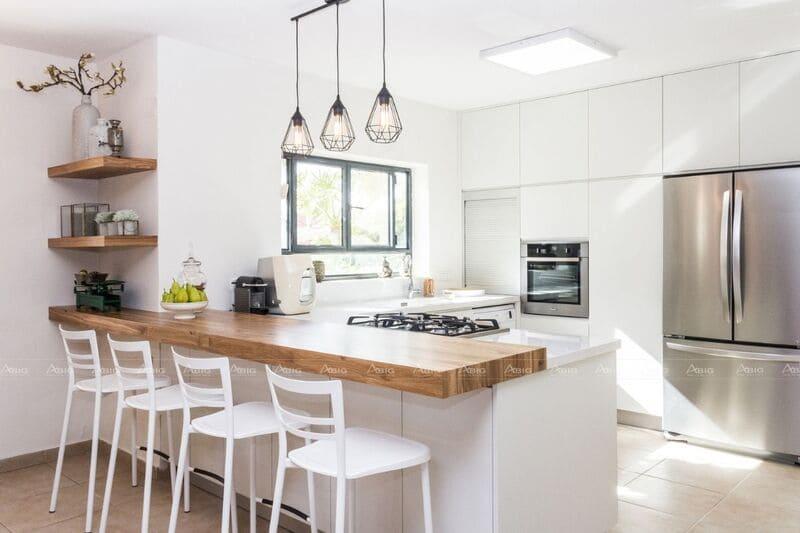 thiết kế bếp đảo đồng thời là bàn ăn giúp tiết kiệm không gian và diện tích