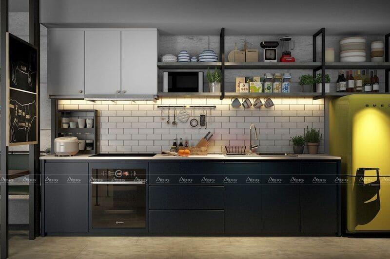 thiết kế phòng bếp phong cách industrial với gam màu đối lập
