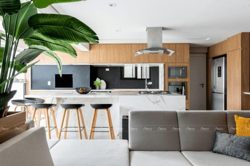 bếp phòng khách và không gian được tích hợp trong cùng một không gian