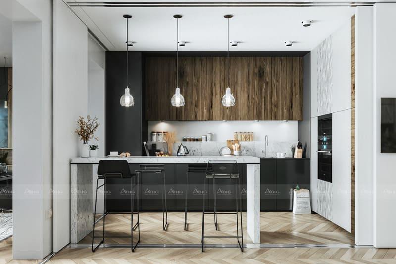 bày biện nội thất tích hơp không gian phòng ăn và bếp một cách thông minh