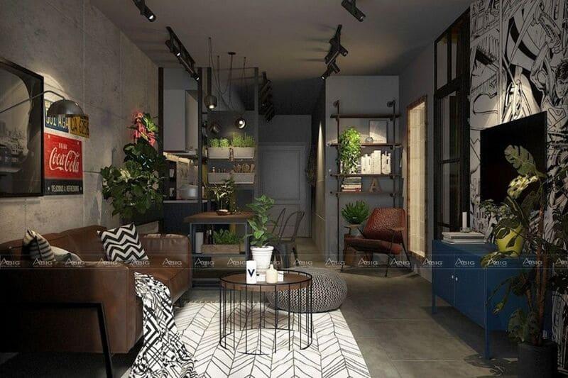 thiết kế không gian phòng khách phong cách công nghiệp industrial