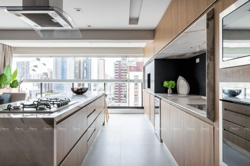 thiết kế bếp 2 chiều giúp tối ưu không gian căn hộ