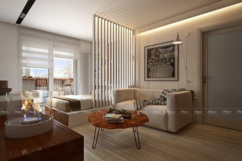 thiết kế phòng khách và phòng ngủ với không gian mở đặc trưng