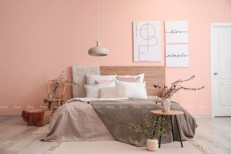 phòng ngủ căn hộ nhỏ 50m2 được thiết kế với gam màu hồng pastel nữ tính