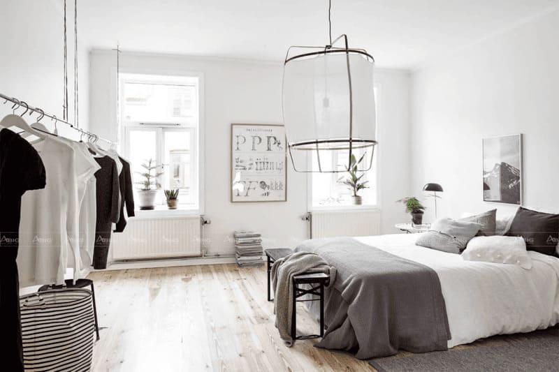 thiết kế phòng ngủ căn hộ 50m2 tối giản