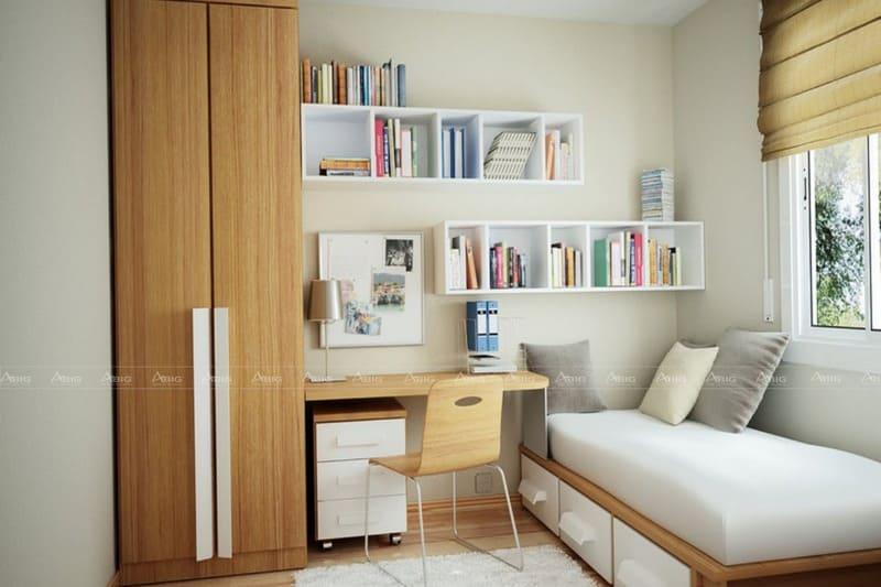 thiết kế phòng ngủ cho căn hộ nhỏ với gam màu sáng nâu gỗ và trắng