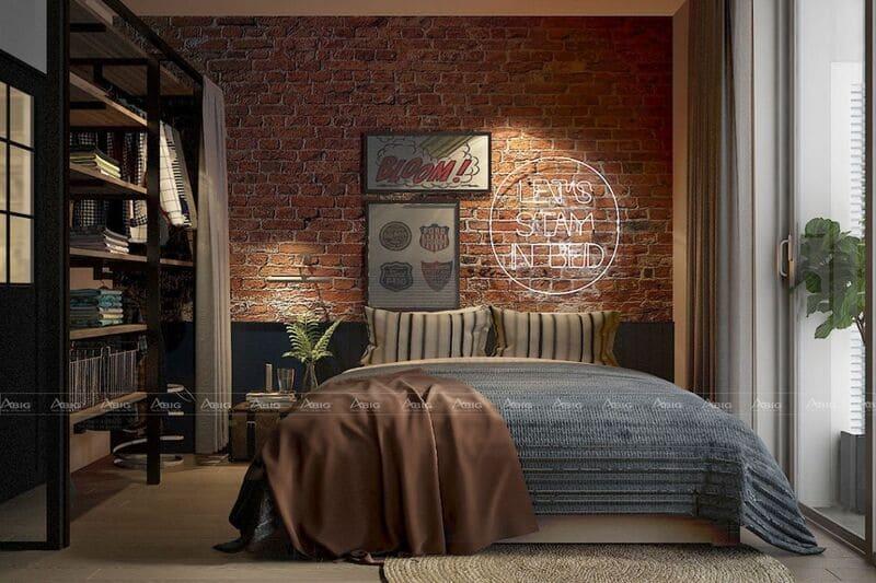 thiết kế phòng ngủ cho căn hộ nhỏ phong cách industrial ấn tượng