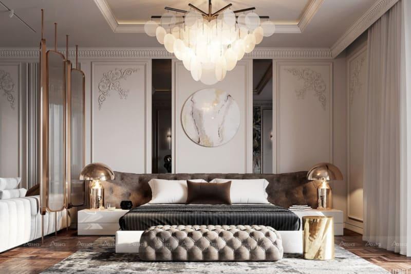 sự pha trộn các tông màu mang lại sự độc đáo trong thiết kế tân cổ điển phòng ngủ