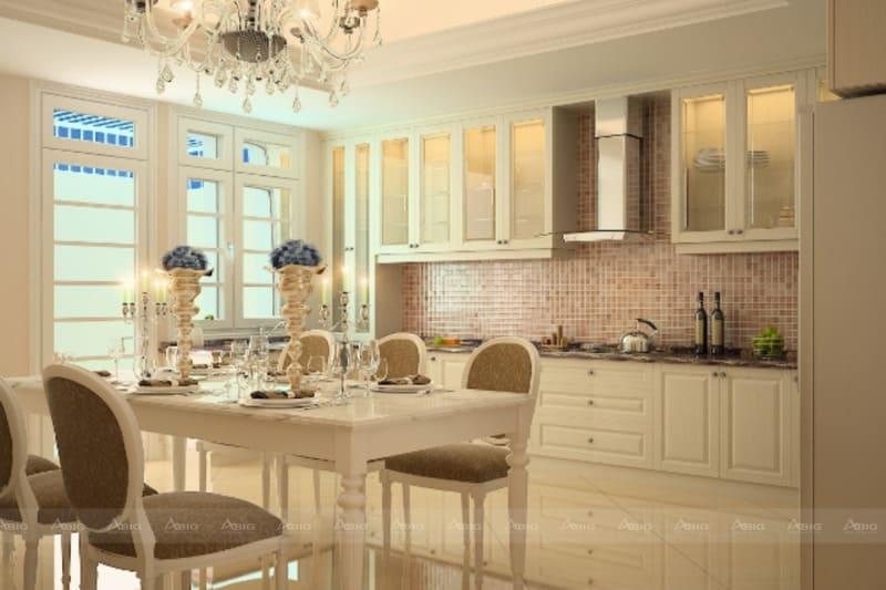 Tổng thể kiến trúc phòng bếp là sự giao thoa giữa cuộc sống tiện nghi hiện đại và nghệ thuật cổ điển lâu đời